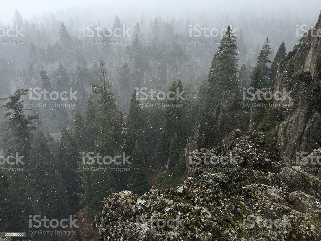 View From Eagle Rock in Northern California in a Snowstorm royalty-free stock photo