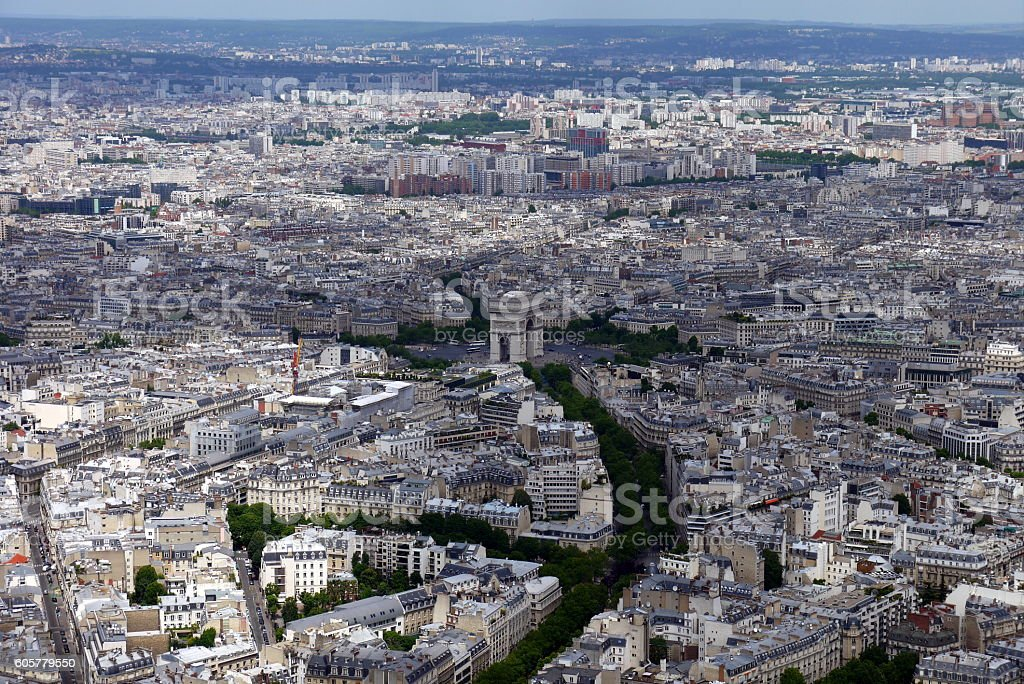 View from Eiffel Tower looking towards Arc de Triomphe, Paris stock photo