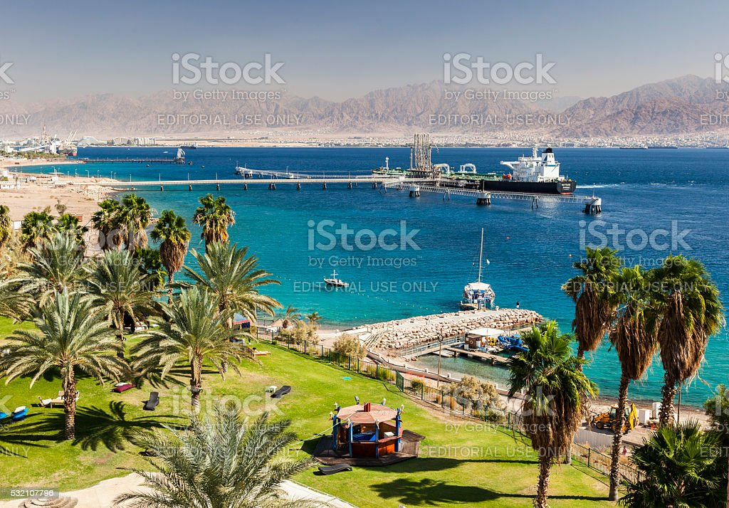 View from Eilat towards Aqaba in Jordan, Eilat. Israel. stock photo