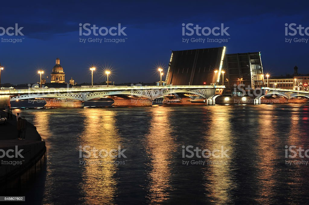 View from embankment to the opened Blagoveshchensky bridge stock photo