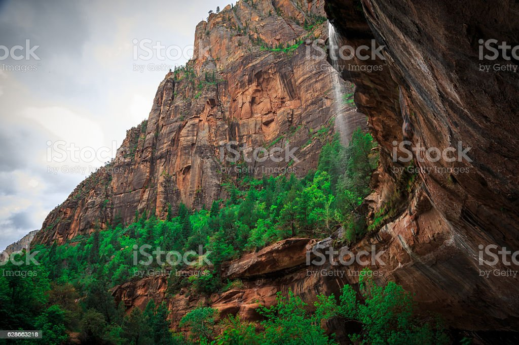View from Emerald Pools Fall, Zion National Park, Utah stock photo