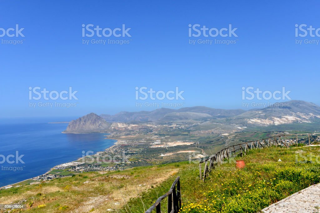 View from Erice, Sicily towards Mt Hood stock photo