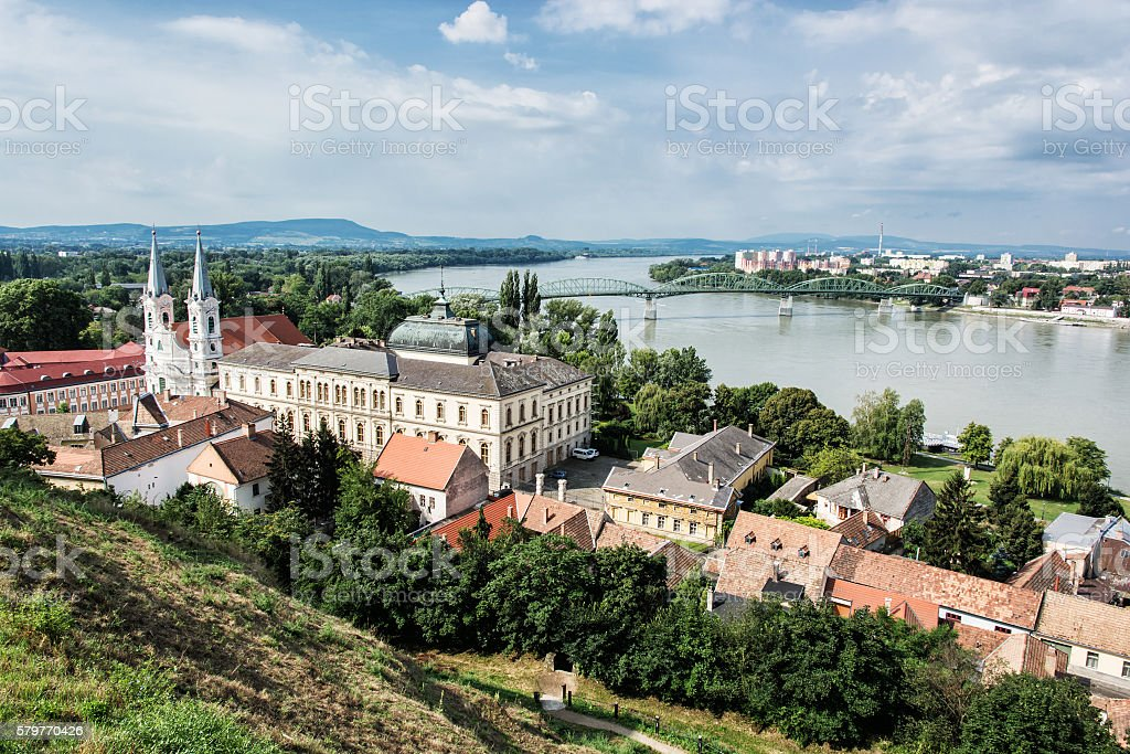 View from Esztergom basilica, Saint Ignatius church stock photo
