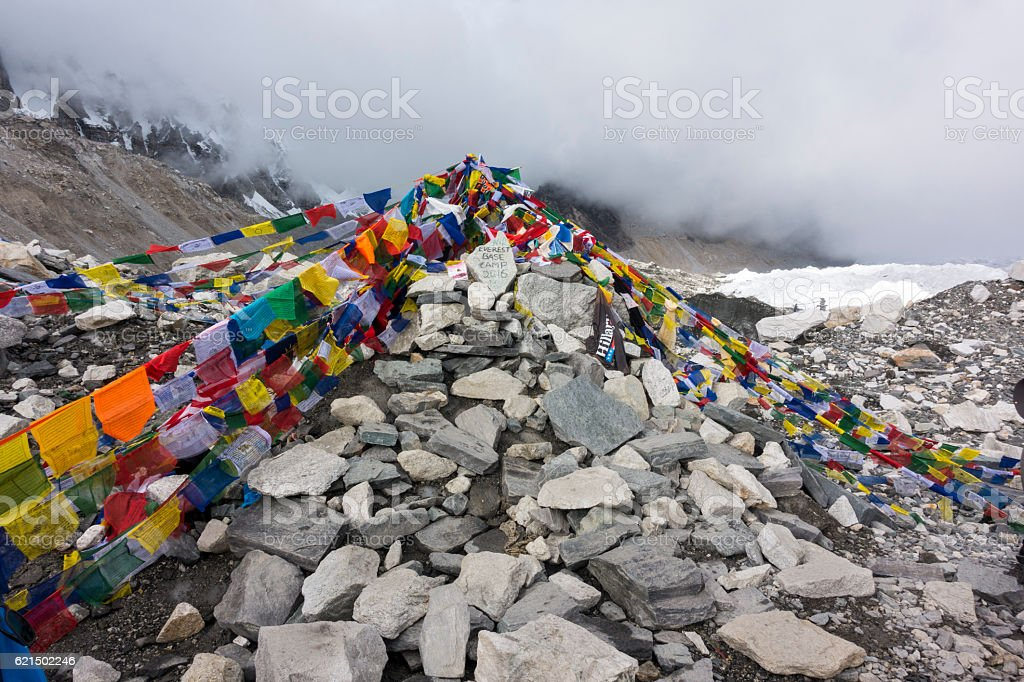 view from Everest base camp with rows of flags. stock photo