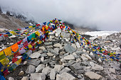 view from Everest base camp with rows of flags.