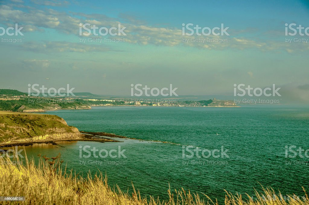View from Filey to Scarborough stock photo