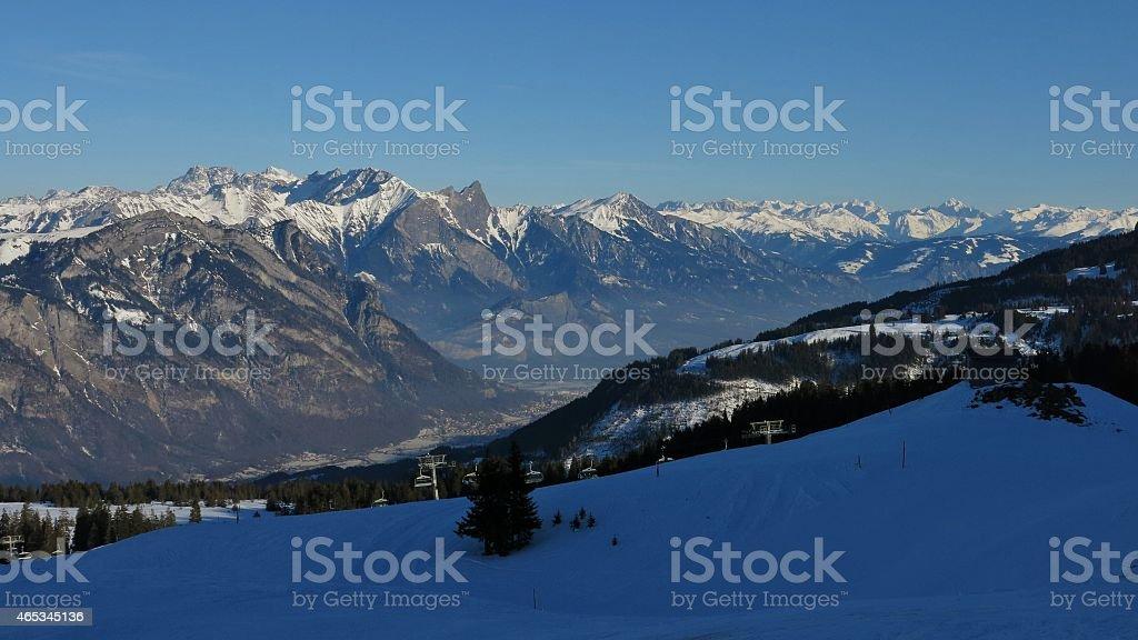 View from Flumserberg towards Schesaplana stock photo