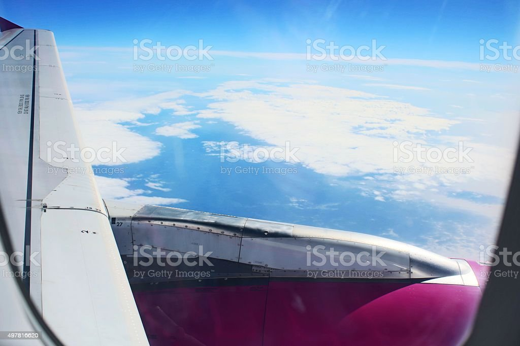 View from flying plane stock photo