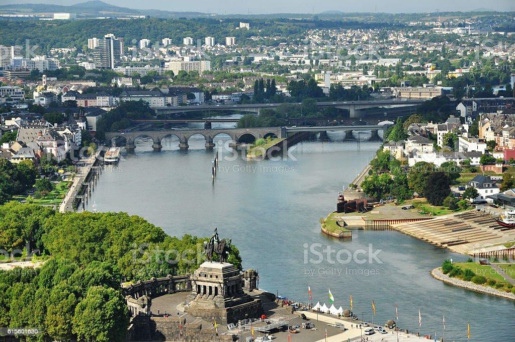View from Fortress Ehrenbreitstein in Koblenz- Germany stock photo