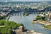 View from Fortress Ehrenbreitstein in Koblenz- Germany