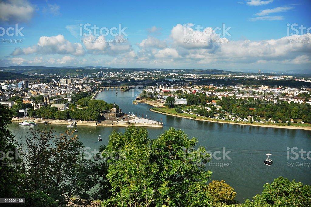 View from Fortress Ehrenbreitstein in Koblenz stock photo