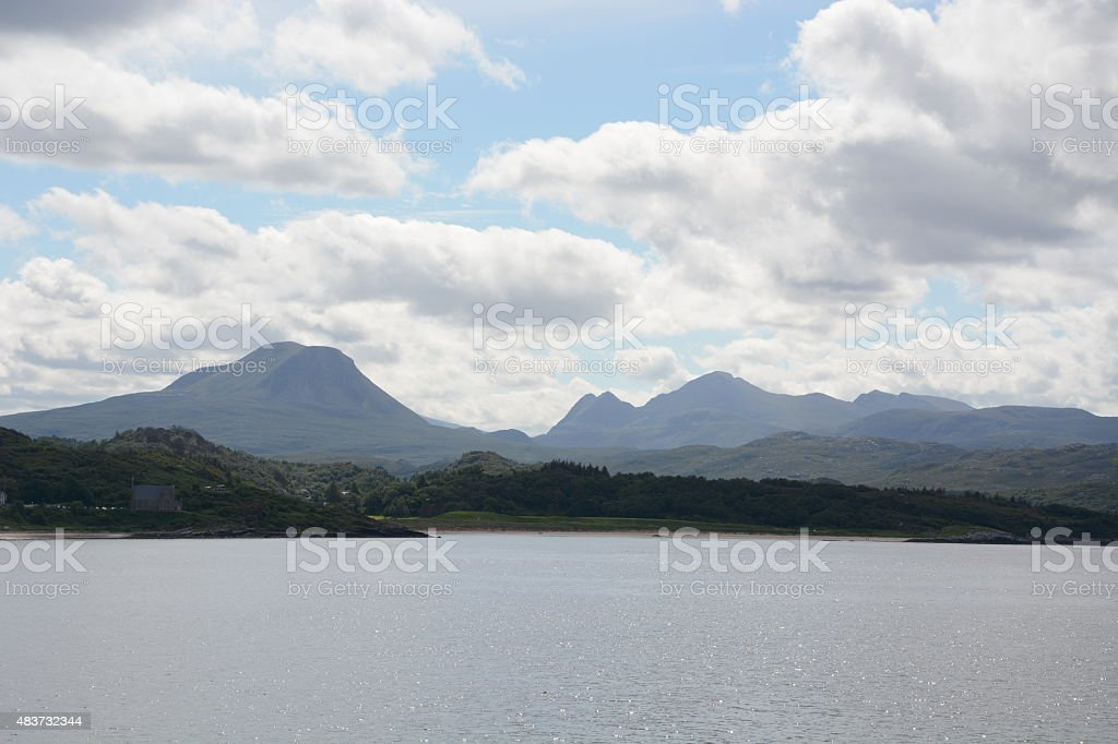 View from Gairloch of Church, Beach and Mountains stock photo