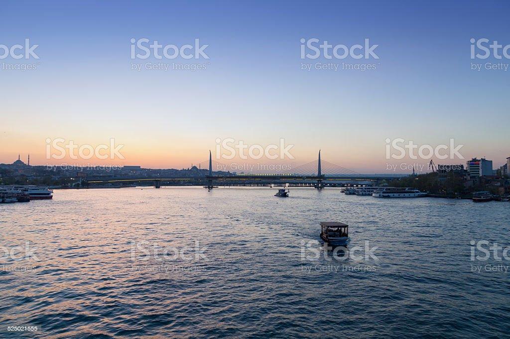 View from Galata Bridge on Bosphorus strait stock photo