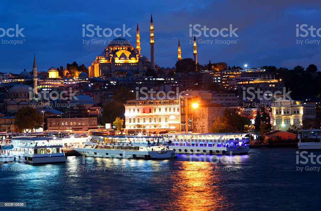 View from Galata Bridge to Suleymanie Mosque in Istanbul, Turkey stock photo