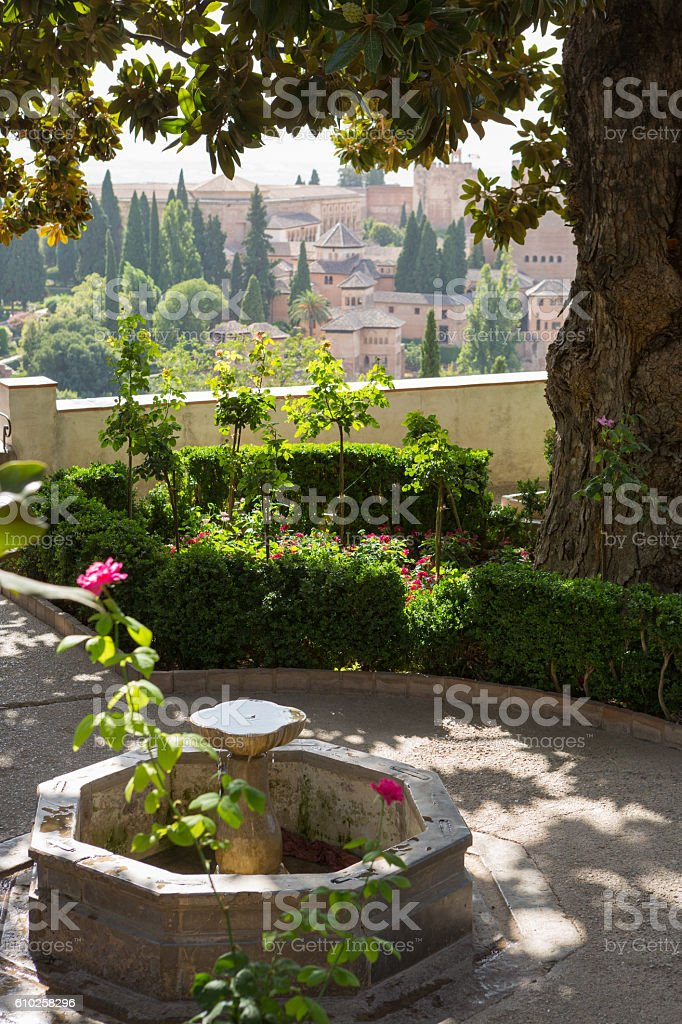 View from Generalife Gardens to Alhambra, Granada, Andalusia, Spain stock photo