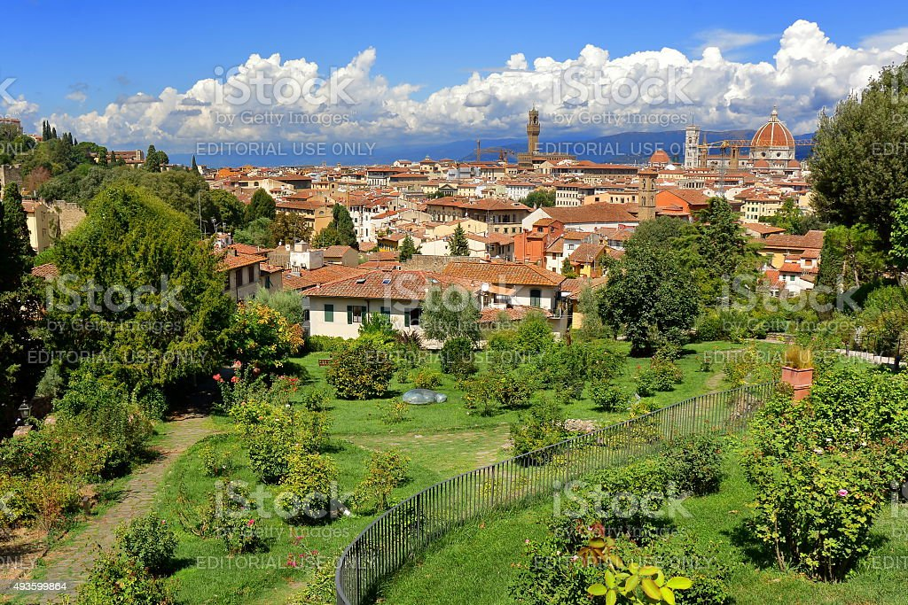 View from Giardino delle Rose in Florence, Italy stock photo