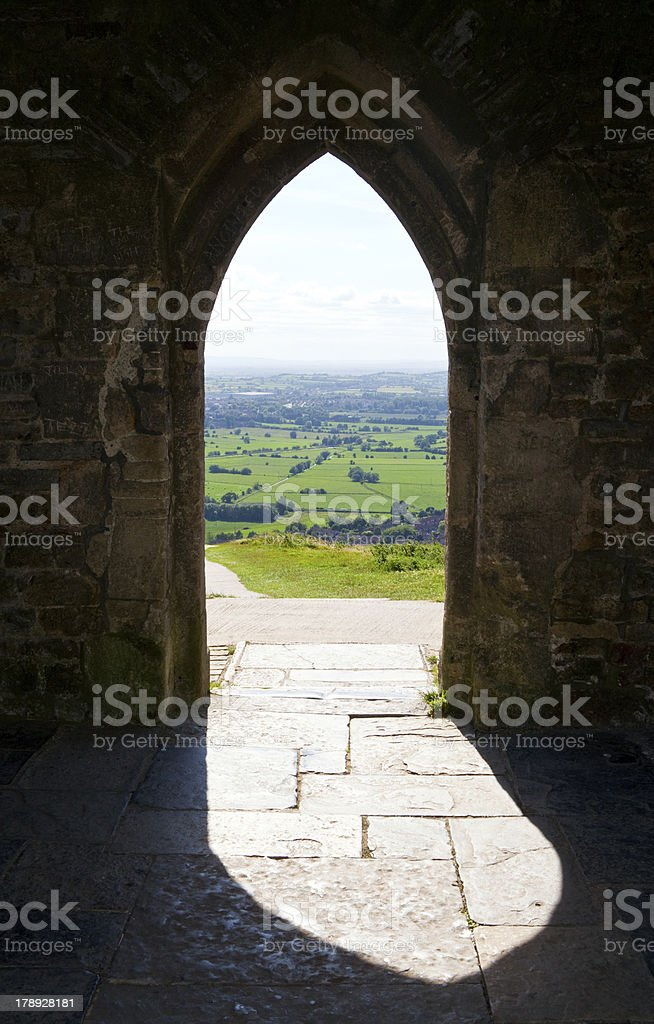 View from Glastonbury Tor in Somerset stock photo
