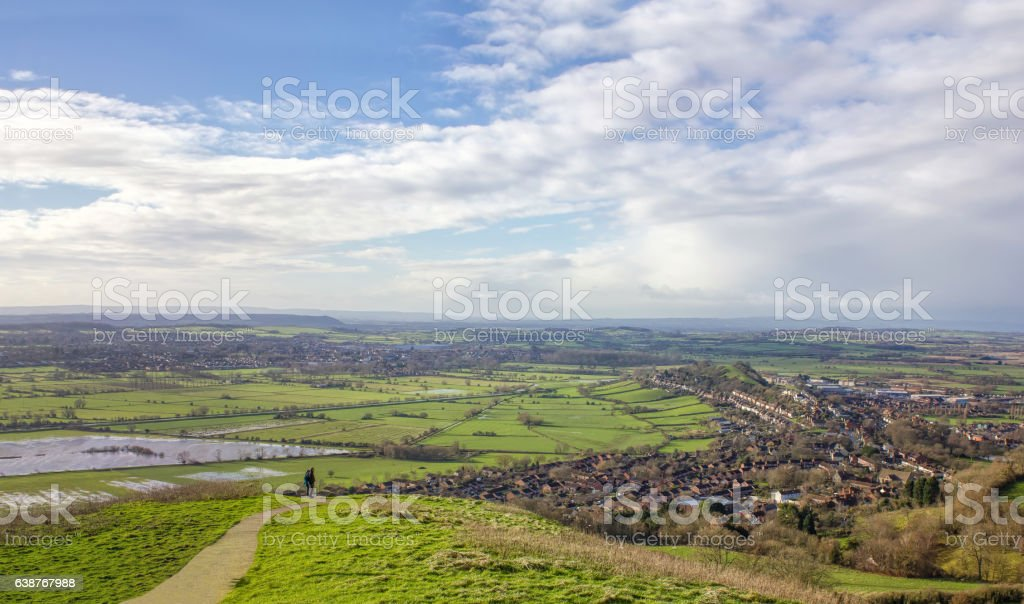 View from Glastonbury Tor. Somerset, UK Landscape. stock photo