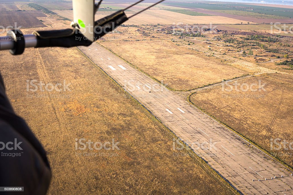 view from glider on the runway stock photo