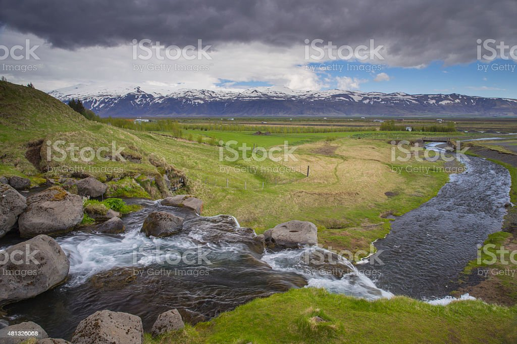 View from Gluggafoss waterfall in South Iceland stock photo