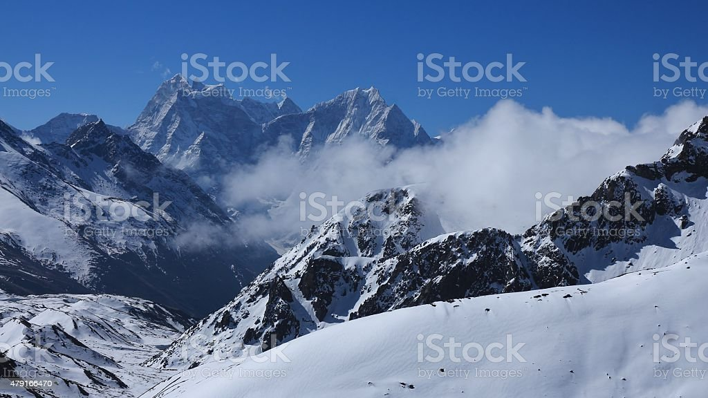 View from Gokyo Ri, Thamserku and Kangtega stock photo