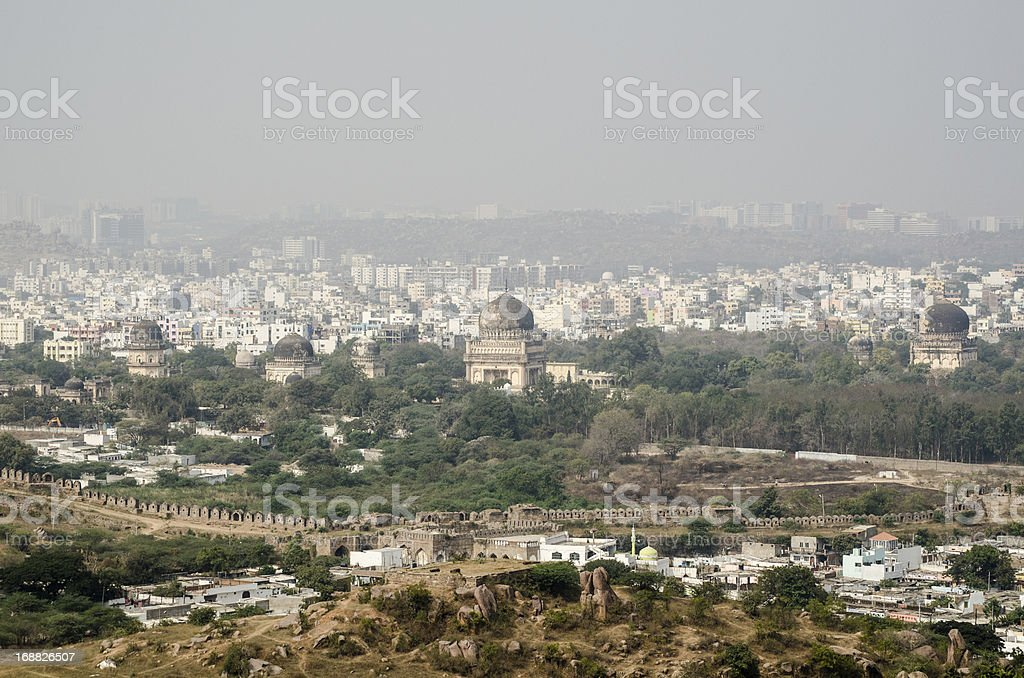 View from Golkonda Fort towards Seven Tombs stock photo