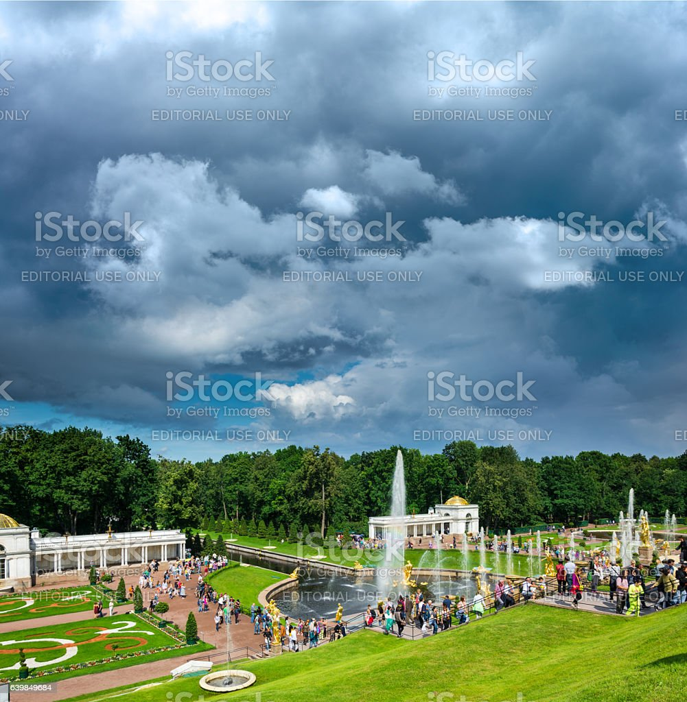 View from Grand Peterhof Palace to Lower park with fountains stock photo