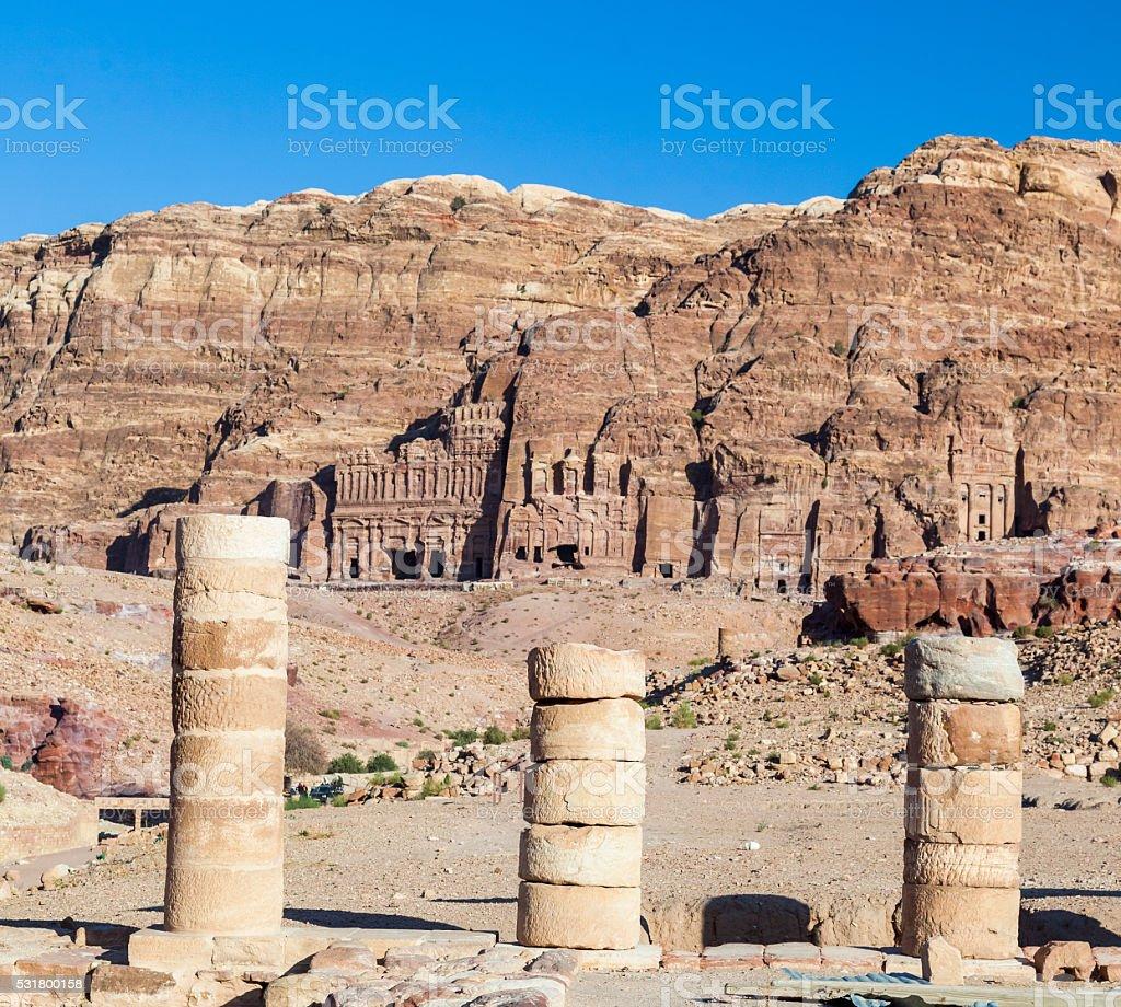 View from Great Temple towards royal tombs. Petra. Jordan. stock photo