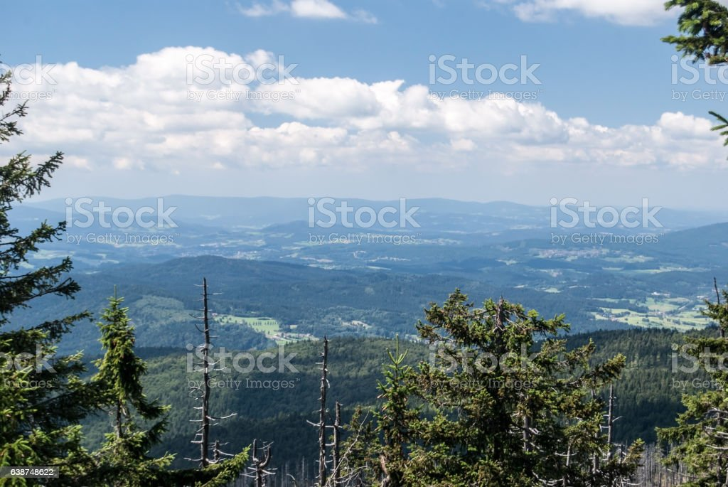 view from Grosser Rachel hill in Bavarian Forest mountains stock photo