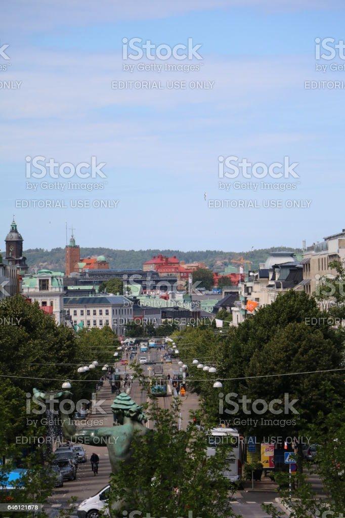 View from Götaplatsen to Kungsportsavenyen in Gothenburg, Sweden Scandinavia stock photo