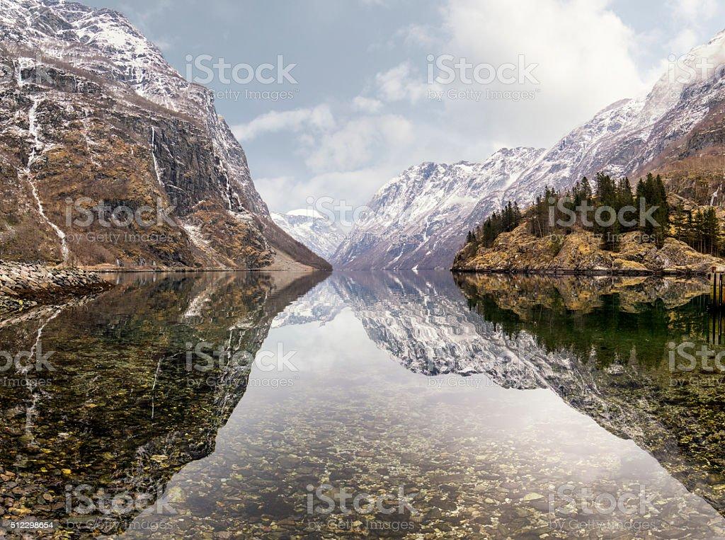 view from Gudvangen village towards fjord, Norway stock photo