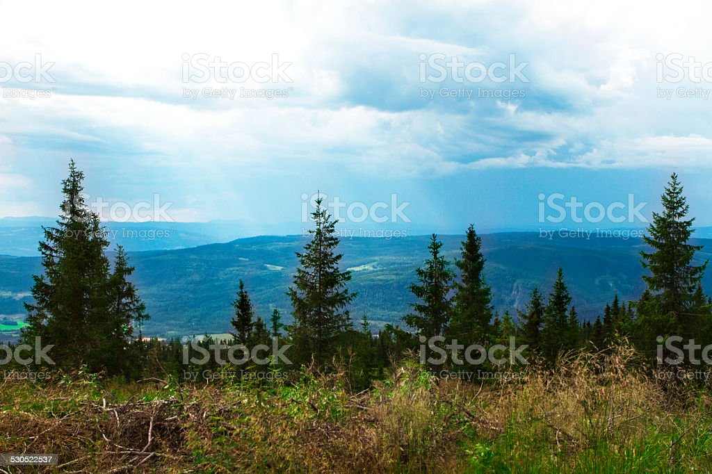 View from Hafjel, norway stock photo