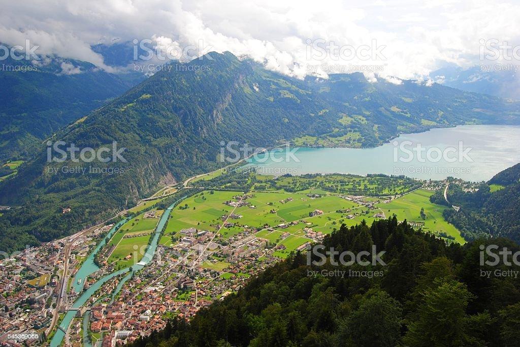 View from Harder Kulm mountain in Interlaken, Switzerland. stock photo