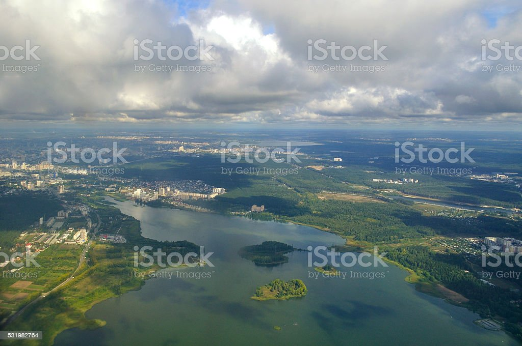 View from height of Southern Urals nature, Russia stock photo