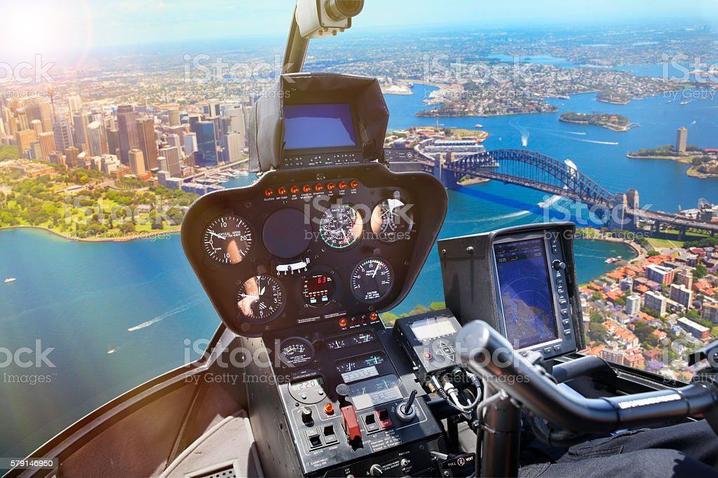 View from helicopter flying over Sydney stock photo