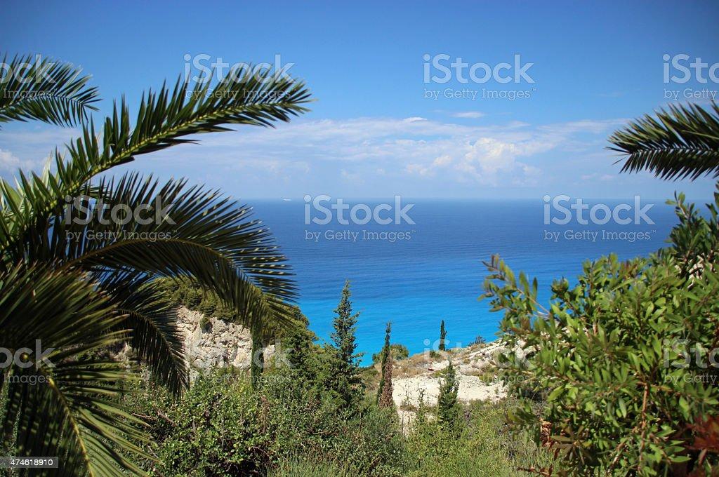 Vista do alto localização para Turquesa do Mar Mediterrâneo foto de stock royalty-free