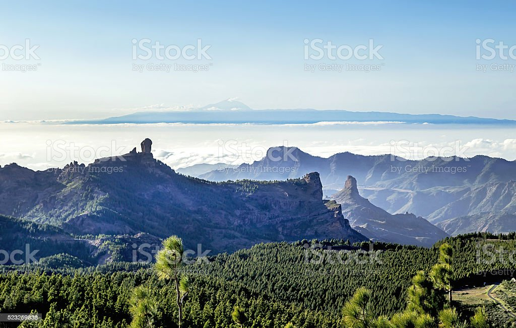 View from highest peak of Gran Canaria island. Spain. stock photo