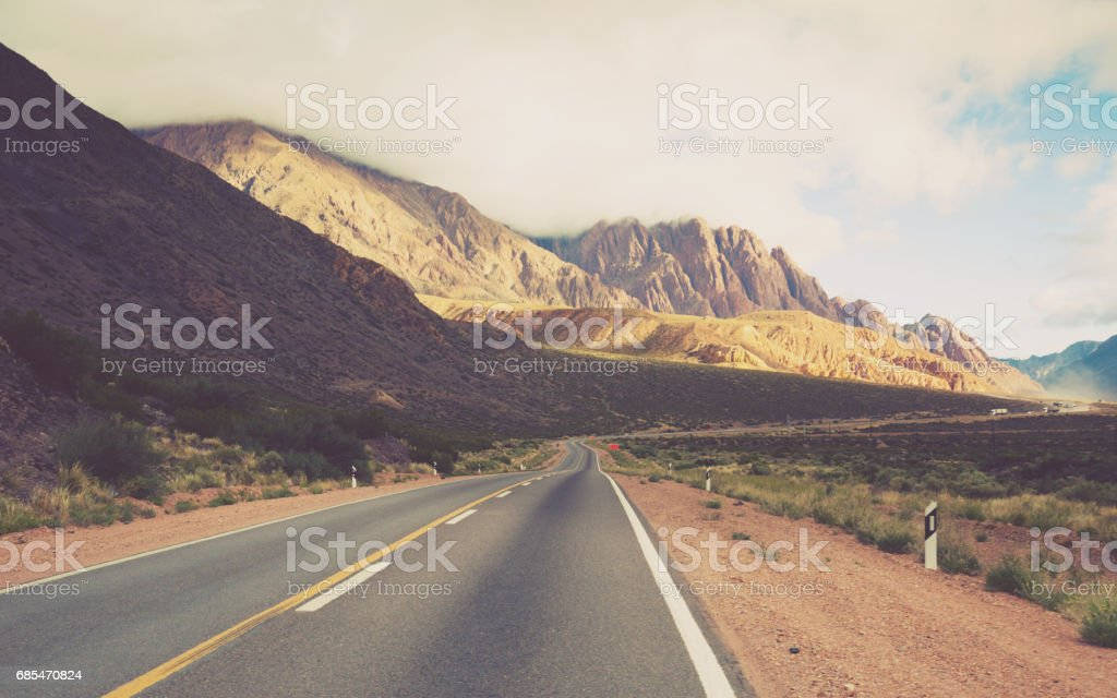 View from highway RN 7 to Andes mountains stock photo