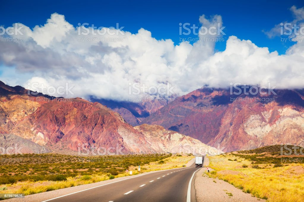 View from highway RN7 to Andes mountains stock photo