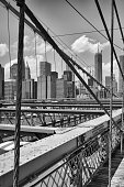View from historic Brooklyn Bridge to  New York City