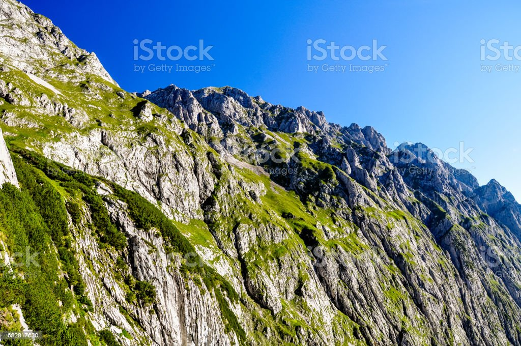View from Höllental (Hoellental) valley on the way up to Zugspitze (2962m above sea level), Germany's highest mountain in the Bavarian Wettersteingebirge in Germany. Beautiful sunny day. stock photo