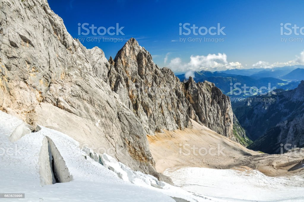 View from Höllental (Hoellental) valley on the way up to Zugspitze (2962m amsl), Germany's highest mountain in the Bavarian Wettersteingebirge. Höllental glacier is on of only 5 glaciers in Germany. stock photo