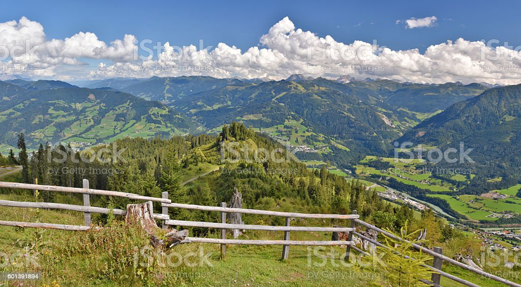 View from Hochglocker into Salzach Valley and Radstädter Tauern stock photo