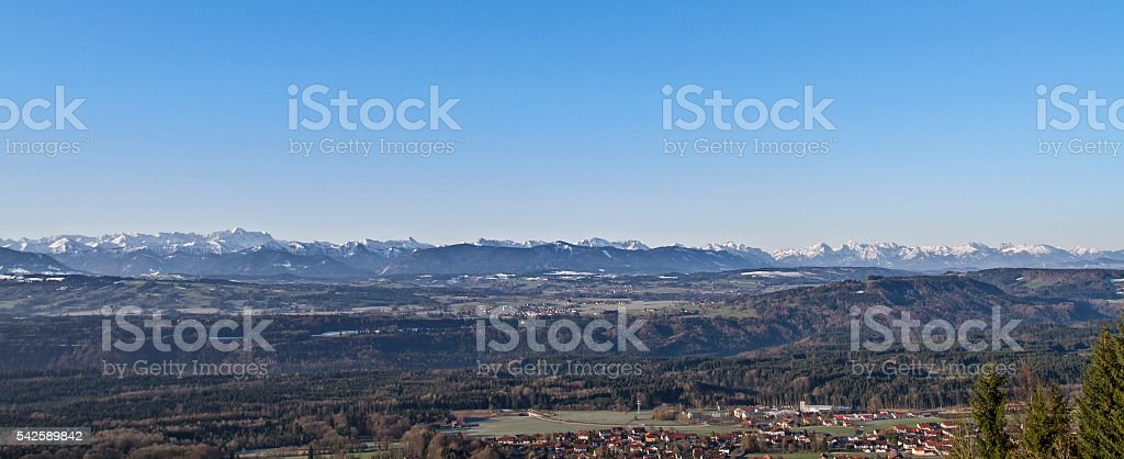View from Hohenpeissenberg stock photo