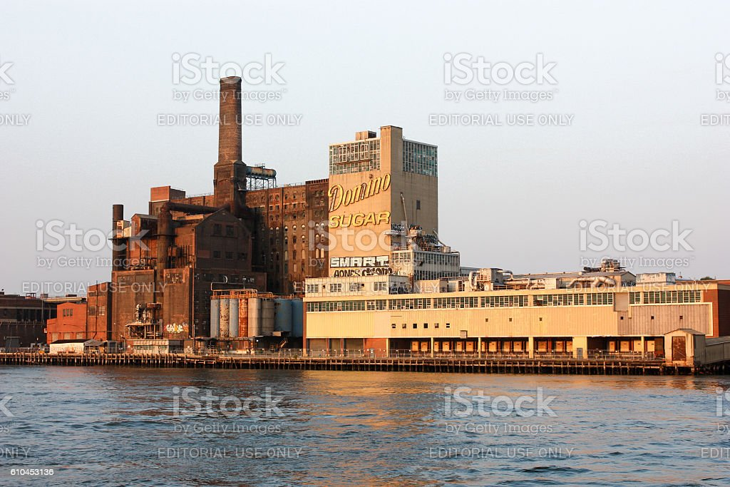 View from Hudson on Domino Sugar Refinery stock photo