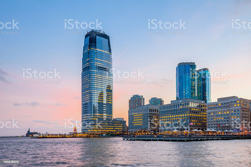 View from Hudson River Waterfront Walkway, Jersey City. stock photo