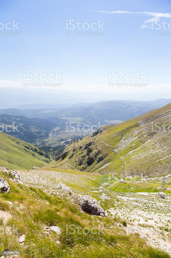 View from Il Campo Imperatore close to Aquila in Italy stock photo