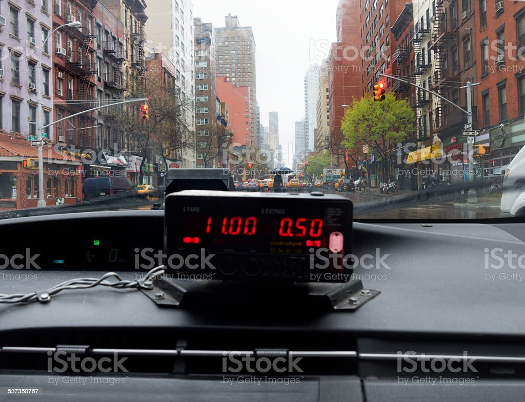 View from inside a New York cab on rainy day stock photo