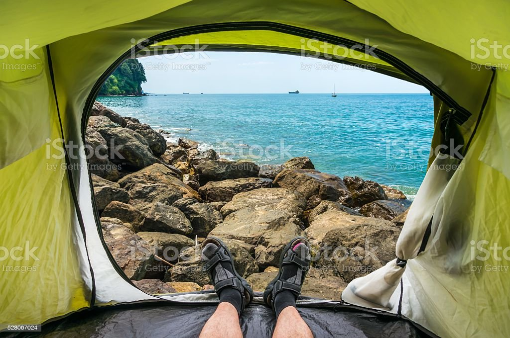 View from inside a tent on the Black Sea Coast stock photo
