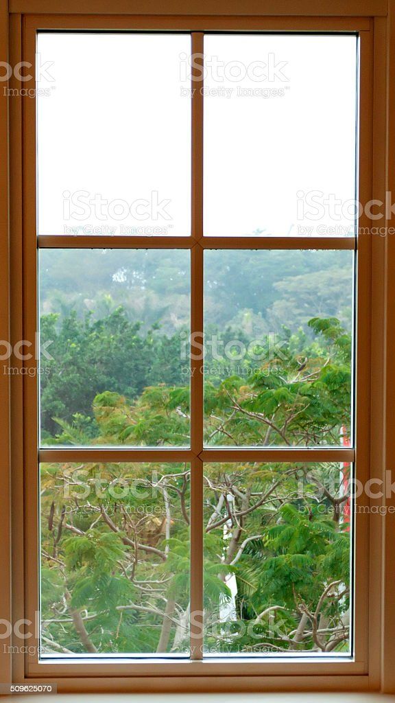 View from inside from a beautiful traditional window stock photo